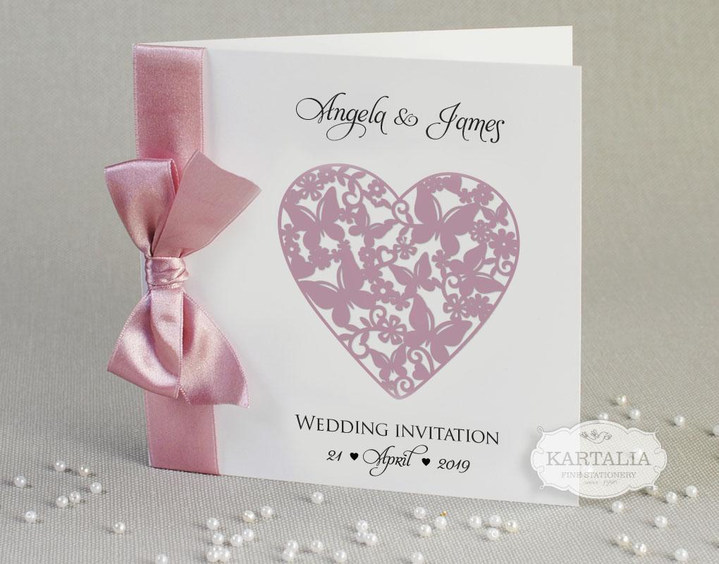Heart Wedding Invitations Uk: 50 Personalised Wedding Invitations Love Heart Ribbon FREE