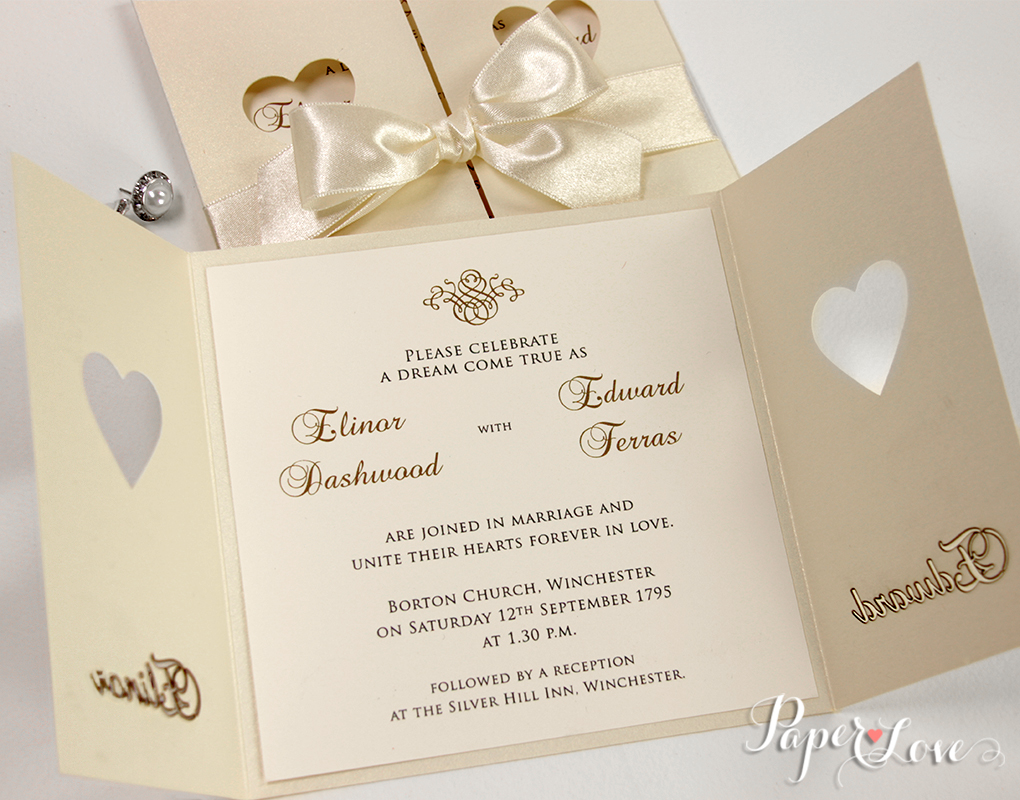 Heart Wedding Invitations Uk: GOLD / SILVER / ROSE GOLD FOIL Personalised White Wedding
