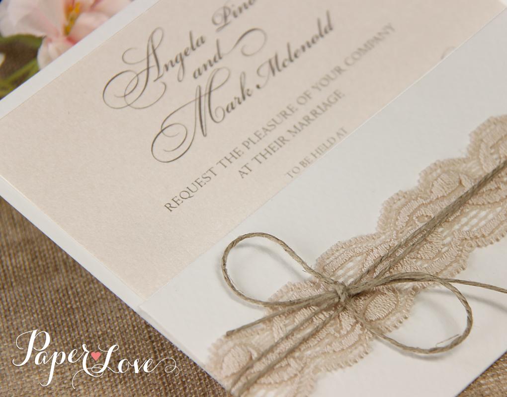Intricate Personalised Laser Cut Wedding Invitation Gatefold Ribbon ...