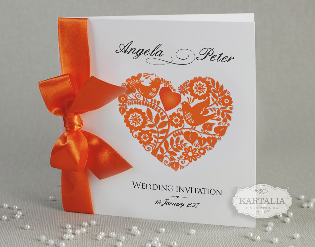 Heart Wedding Invitations Uk: 50 Personalised Wedding Invitations Love Heart Ribbon FREE