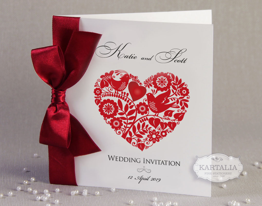 50 Personalised Wedding Invitations Love Heart Ribbon FREE ENVELOPES ...